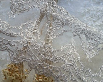 Silver Floral Lace Trim Venice Embroidered  Tulle Lace Trim 5.51 Inches Wide 1 Yard L0437