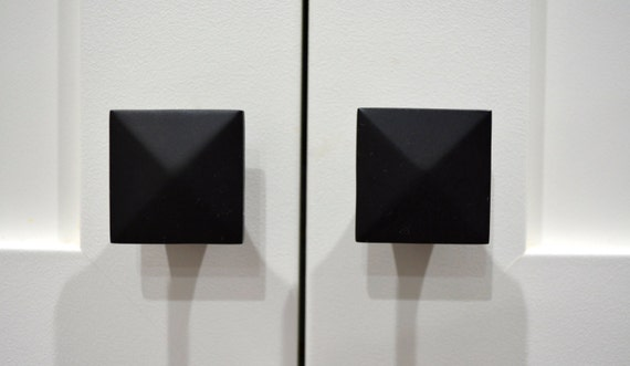 contemporary matte black cabinet door knobmatte black knobsquare knobkitchen cabinet door knobraised pyramid style knobmodern knobs from - Contemporary Kitchen Cabinet Doors