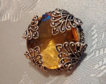 Vintage Amber-tone Filigree Brooch