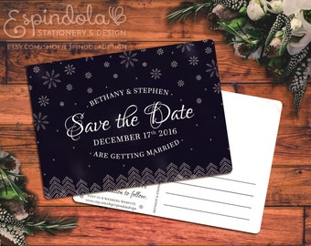 Snowy Postcard Save the Dates