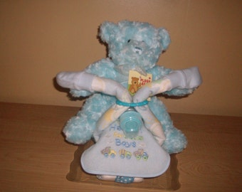 Baby Boy Motorcycle Diaper Cake with Plush Bear