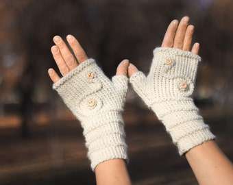 knitted white mitts, gloves, fingerless mitts, arm warmers, fingerless knitted gloves, women's gloves