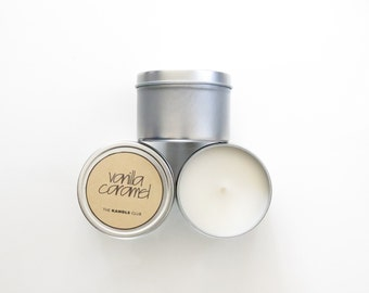 Vanilla Caramel: Travel Tin 4oz (Natural Soy Wax Candle)