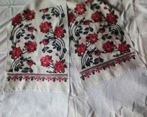 Antique renew wedding towel.Rushnyk.Bridal towel.Linen homespun fabric.Crotchet lace.Handmade embrodery.