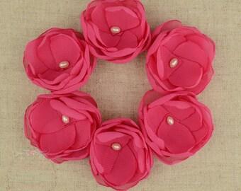 Cerise - Hair Flower - Magenta - Flower Clips - Hot Pink - Hair Flower Clips - Pink Bridesmaids - Pink Wedding - Bridesmaid Hair - Pink