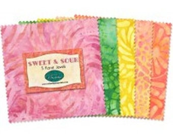 """Sweet & Sour 5"""" Batik Squares from Wilmington by the pack"""