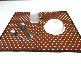 Kitchen drying mat, fabric dish drainer, pet place mat, dish drying mat, ecofriendly dish mat, brown dish mat, baby changing mat Item #318