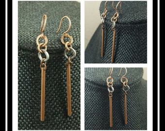 Copper Stick Hammered Ring Dangle  Earrings