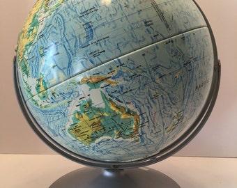 Vintage Nystrom Globe ~ Sculptural Relief Globe ~ 12 inch Globe ~ Textural Globe