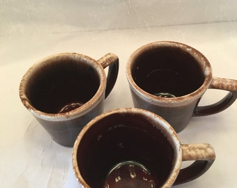 McCoy Brown Drip Cups~ Set of Three ~ Vintage