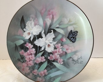 Sapphire Wings~ Jewels of The Flowers Collection ~ Artist:  Tan Chun Chiu ~ Edwin M Knowles ~ Vintage Collectible Plate