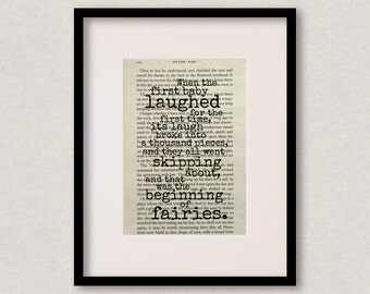 "Peter Pan - Book Quote Print - Baby Shower Gift - New Baby Gift - Nursery Decor - ""When the first baby laughed..."""