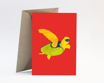 Turtle on red card – Thinking of you, hello, friendship, for friend, girlfriend, sister or mother, Australian sea animal