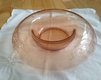 Depression Glass Rolled Edge Glass Bowl ~ Pink Console Bowl with Floral Pattern ~ Rolled Edge Bowl ~ Pink Center Piece Bowl