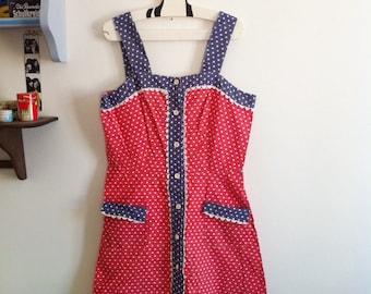 60s red, navy & white cotton dress, polka dots print / small - medium