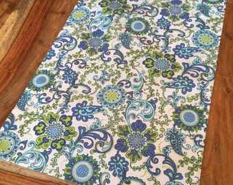 blue, green and white Suzani floral fabric table runner