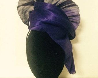 Purple silk abaca headpiece (20% off)
