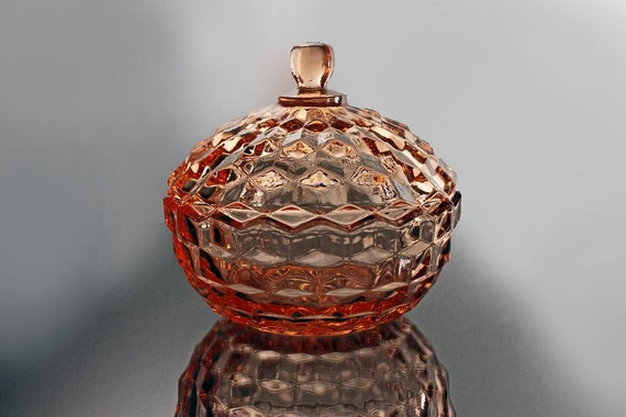 Candy Box, Whitehall Peach, Colony, Cube Pattern, Covered Candy Dish,