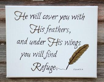 Handwritten Canvas Word Art, Scripture from Psalm 91:4, Gold feather