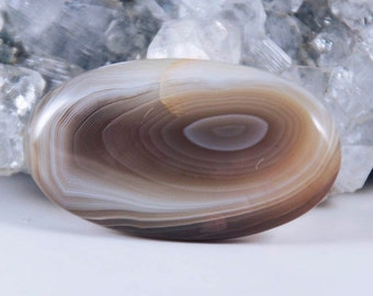 Natural Brown Gray Botswana Agate Oval Cabochon