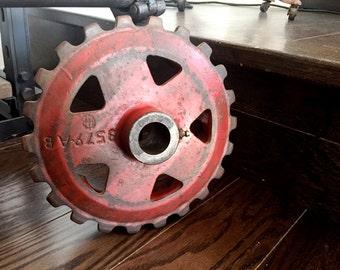 Vintage Industrial Gear, Sprocket Cog, Rustic Steampunk, Industrial Gear, Repurposing Gear, Steel Gear with Sprockets