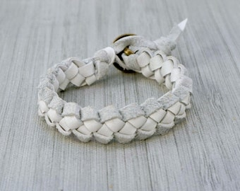 Braided Leather Bracelet, White Leather Bracelet, Men's Leather Bracelet, Women's Leather Bracelet, Bohemian Leather Braided Bracelet