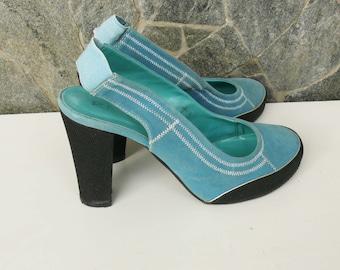 Vintage Blue Interesting Sandals, Suede - textiles, Blue Sandals, Vintage Suede - textiles Sandals for women, Official Women's Sandals