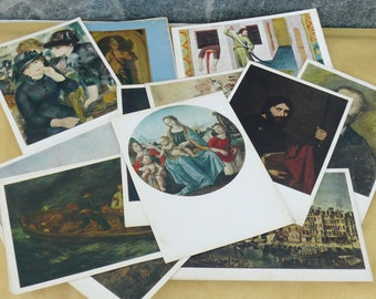 16 Vintage Russian Postcards Of Works By Great Artists / Postcards From The State Pushkin Museum / USSR Russia Collection, Painting, Moscow