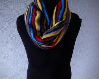 coloured aztec striped snood, striped cowl loop scarf in warm fleece fabric