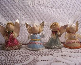 Four 1930's Chenille Angel Figures, Japan