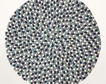 Felt ball rug - Mako | Blue / Mint / Grey | Filzkugelteppich (fast shipping)