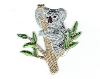 Koala Bear - Eucalyptus Branch - Marsupial - Iron on Applique - Embroidered Patch - 696995-A