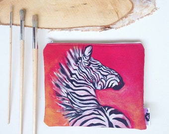 Hand painted clutch bag wallet, zebra, Zebra-painted