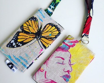 Hand painted wallet, buttreflies, Monarch Butterfly, hand-painted case-smartphone