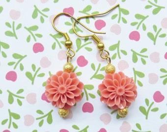 Coral Flower Earrings, Girl, Tween or Teen Earrings, Charm Earrings, Little Girl, Teen or Tween Gift