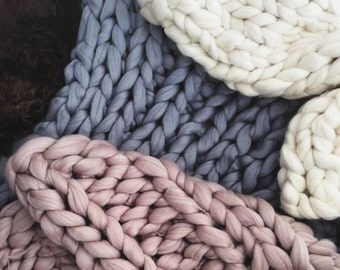 """Super Chunky Baby Knit Blanket, 30 x 50"""", Toddler Chunky Blanket 21 Micron Merino Wool Super Chunky Knit Blanket Giant Knit Baby Blanket"""