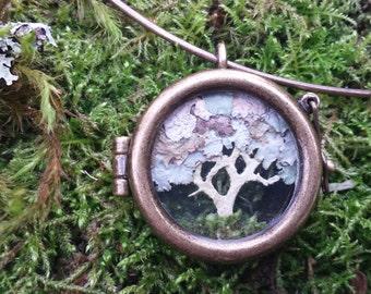 Lichen tree necklace