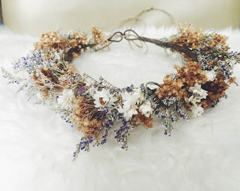Preserved Woodland Crown w/ natural, white & blue foliage