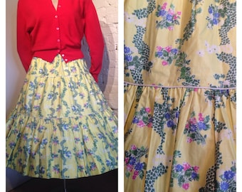 1950s/1960s Floral Print Tiered Skirt