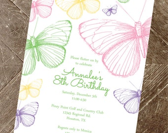 butterfly invitation, butterfly birthday invitation, birthday invitation, baby shower, printable butterfly party invitation