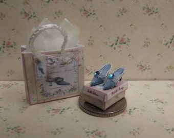 1/24th Scale dolls house miniature blue silk shoes.