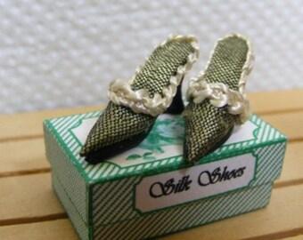 Dolls House Miniature Dark Green Silk Hand Made Slipper Shoes