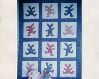 Bunny Hop - Crib Quilt and Wooden Bunny Pattern (PDF)