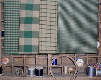 4 pc Green Gingham Checks and Windowpane Homespun Fat Quarter Bundle Quilting Sewing Crafting Rag Quilts Dunroven House H404 H490 H40 H43