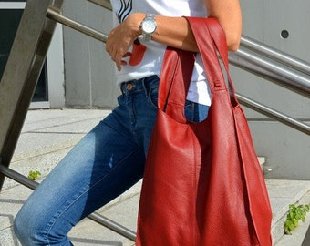 Huge Genuine Leather Broad Shopper Urban Style Red Color