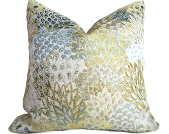 "Robert Allen Feather Fans Zest Floral Brocade Blue Citrine Yellow Beige Pillow Cushion Zipper Cover, Fits Lumbar 16"" 18"" 20"" 22"" 24"" Insert"