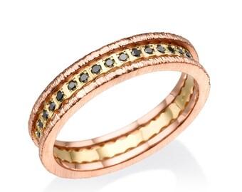Black Diamonds, 14k Gold Ring, Diamond Ring, Rose gold ring,  Multicolor Ring, Black Diamonds rings, Designed gold Ring, 14K rose rings