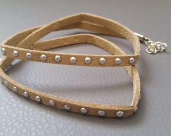 Studded fabric wrap bracelet