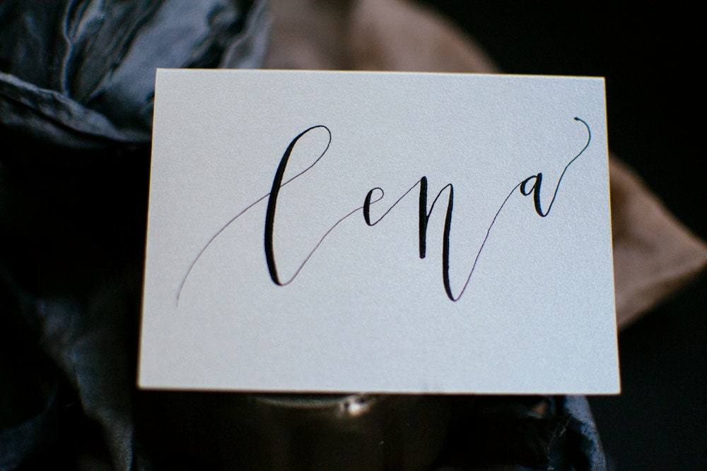 Modern Calligraphy Shimmer Place Cards With Black Or Gray Ink