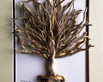 Tree of Life Driftwood Sculpture in Shadowbox